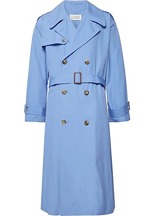 Maison Margiela Cotton-poplin Trench Coat - Light blue