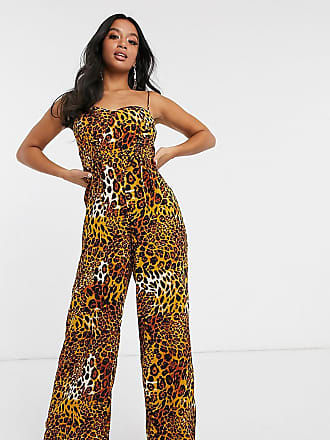 Missguided wide leg jumpsuit with lace up detail in leopard-Multi