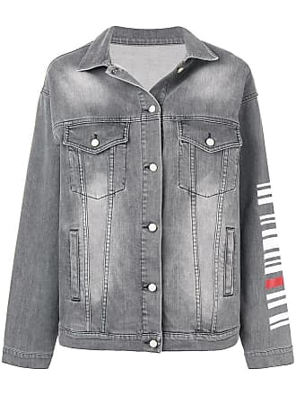 Quantum Courage Jaqueta jeans com código de barra - Cinza