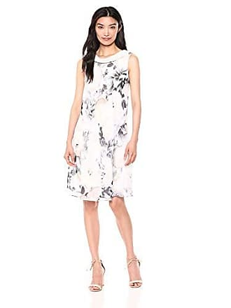 S.L. Fashions Womens Sleeveless Print Asymmetric Chiffon Overlay Dress, Ivory/Multi, 12