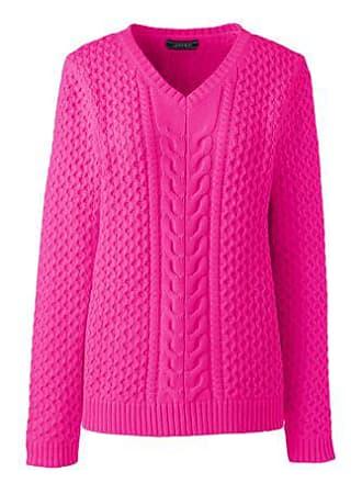 048e6a15c482 Lands End Baumwoll-V-Pullover Drifter mit Zöpfen in Petite-Größe - Pink