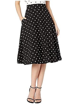 Unique Vintage Retro Style Black White Polka Dot High-Waisted Vivien Swing Skirt (Black/White Dot) Womens Skirt