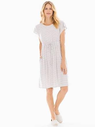 Soma Drawstring Dress Stocking Stripe Opal Gray, Size XL