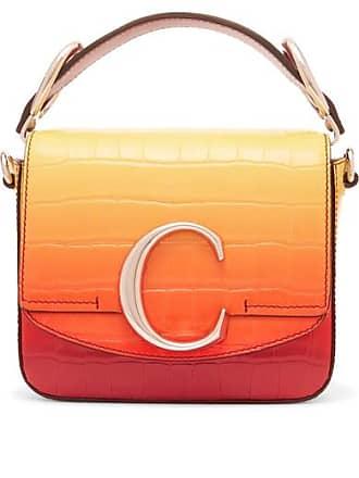 Chloé Chloé C Ombré Croc-effect Leather Shoulder Bag - Yellow