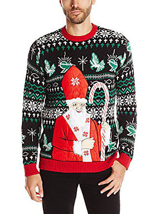 Blizzard Bay Mens Pope Santa Ugly Christmas Sweater, Green/White/Red, Small