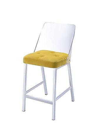 ACME 72174 Neve Acrylic and Velvet Counter Height Chair (Set of 2), Yellow