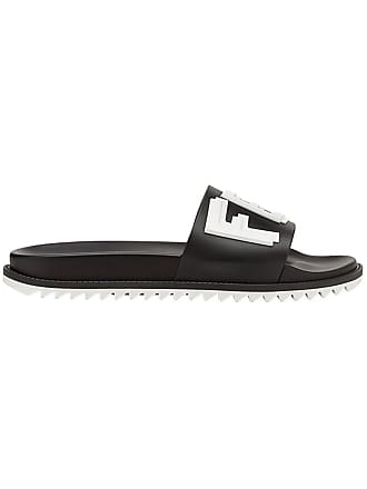 5b4c3f3525bc Fendi logo print pool slides - Black