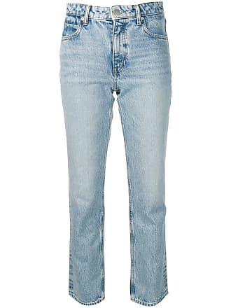 Alexander Wang Calça jeans reta com detalhe de zíper posterior - Azul