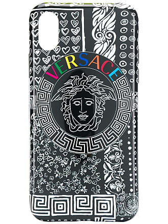 Versace logo printed iPhone X case - Preto