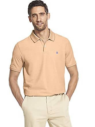 974b98f9 Izod Mens Advantage Performance Short Sleeve Solid Heather Polo, Melon,  Large