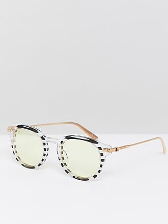 f2c21ddbaf5eb Calvin Klein CK18701S - Lunettes de soleil rondes rayées - Blanc