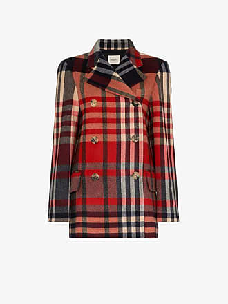 Khaite tartan cashmere and wool double-breasted coat