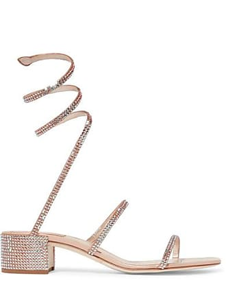 45f6a9bf95fb Rene Caovilla Cleo Crystal-embellished Metallic Satin And Leather Sandals -  Neutral