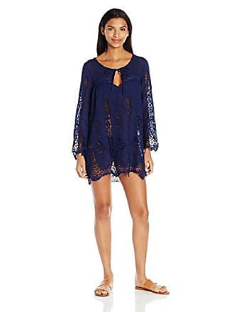 Nanette Lepore Womens Stardust Embroidery Lacey Tunic Cover Up, Indigo, L