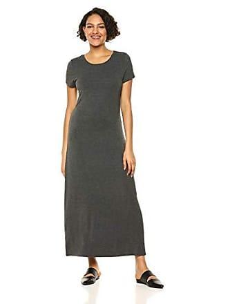 Amazon Essentials Womens Solid Short-Sleeve Maxi Dress, Charcoal Heather, L