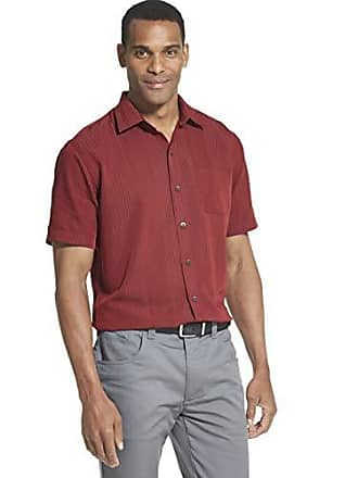 Van Heusen Mens Big and Tall Air Short Sleeve Button Down Poly Rayon Stripe Shirt, Red Syrah, 2X-Large