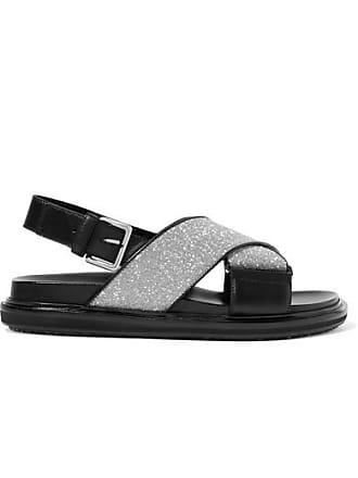 Marni Glittered Leather Slingback Sandals - Black