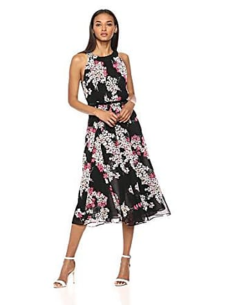 Tommy Hilfiger Womens Coin TOSS Chiffon Long Dresses, Black Pink White Floral, 12