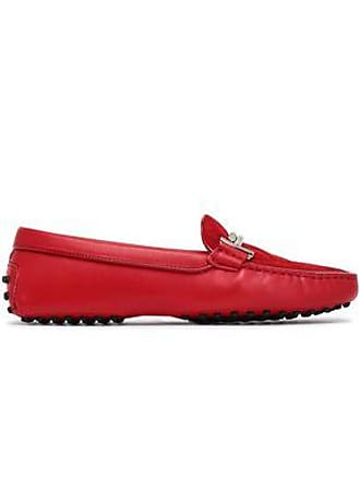 15d8b2c54edb8e Tod s Tods Woman Gommino Embellished Quilted Suede And Leather Loafers Red  Size 35
