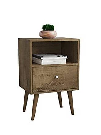 Manhattan Comfort 203AMC9 Liberty Modern 1 Drawer Bedroom Nightstand/End Table, Rustic Brown