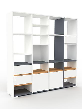 MYCS Bibliothèque - Blanc, design contemporain, avec porte Blanc et tiroir Blanc - 156 x 158 x 35 cm