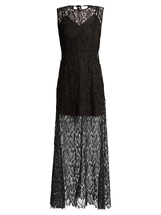 Diane Von Fürstenberg Leaf And Floral Macramé Lace Sleeveless Gown - Womens - Black