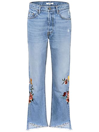 GRLFRND Helena embroidered cropped jeans