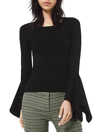 Michael Kors Draped-Cuff Scoop-Neck Sweater