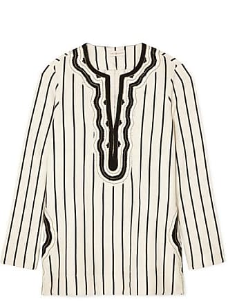 fa74bc49e70 Tory Burch Tory Cord-trimmed Striped Canvas Tunic - Ivory