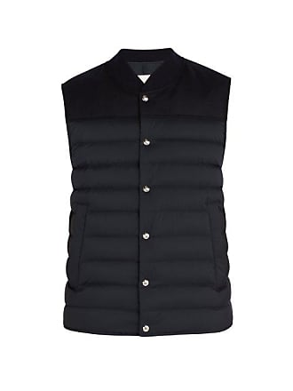 Moncler Quilted Down Nylon And Wool Gilet - Mens - Navy