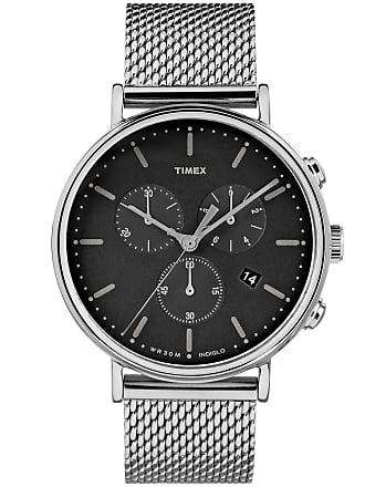 Timex Watch Unisex Fairfield Chronograph 41MM Mesh Band Silver-Tone/stainless Steel/black Item Tw2R61900Vq
