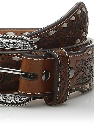 Ariat mensA10230Wide Buck-stitch Floral Center Belt - brown - 46