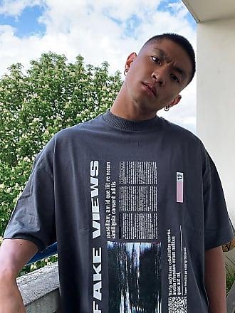 Collusion Unisex - Oversized-T-Shirt mit Fake Views-Aufdruck in Anthrazit-Grau