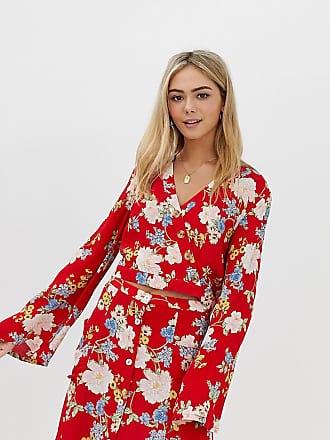 Miss Selfridge blouse with tie detail in floral print - Red