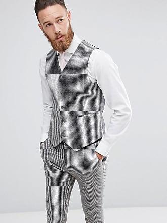 5c336cec5fe583 Asos wedding super skinny suit vest in gray houndstooth - Gray