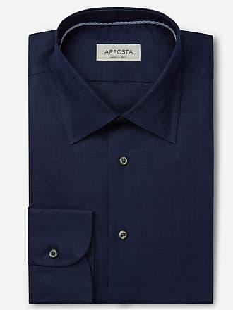 Apposta Camicia tinta unita blu lino tela, collo stile italiano basso