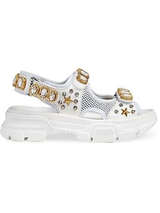 Gucci Sandália com aplicação de cristais - Branco