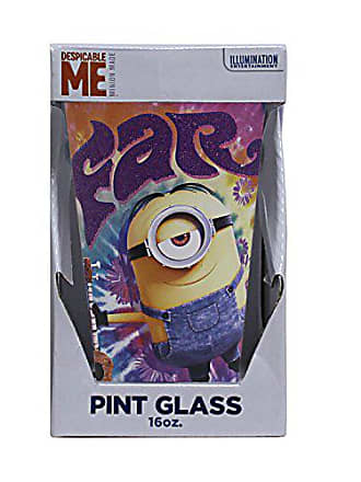 Universal Works Silver Buffalo DM52031PG Universal Despicable Me Minion Far Out Colored Glass with Glitter Boxed Single Pint,16-ounces