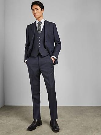 Ted Baker Debonair Subtle Check Wool Waistcoat in Dark Blue WESTW, Mens Clothing