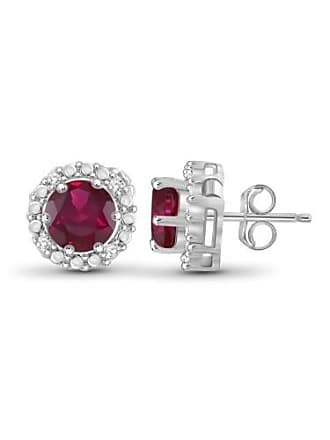 JewelersClub JewelersClub 2-1/2 Carat T.G.W. Ruby and White Diamond Accent Sterling Silver Halo Earrings