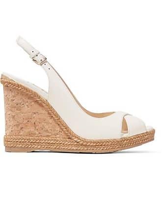 5b125f74e706 Jimmy Choo London Amely 105 Leather Slingback Wedge Sandals - White
