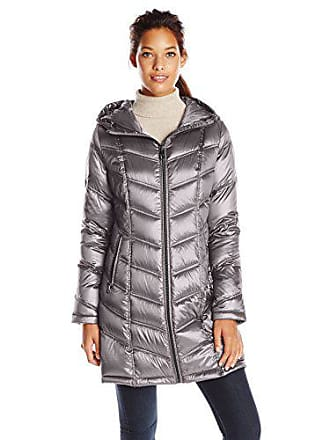Calvin Klein Womens Mid-Length Packable Chevron Down Coat, Shine Granite, XX-Small