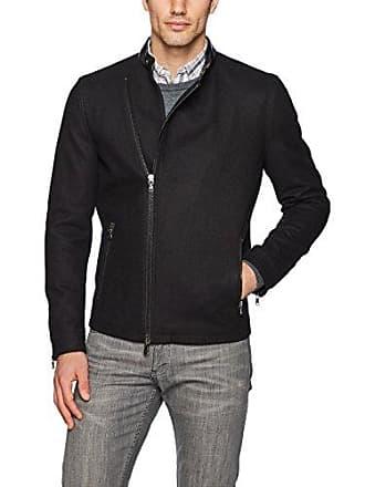 John Varvatos Mens Asymmetrical Zip Jacket, Black, Extra Large