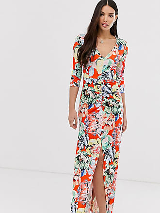 2b4dd448993f6b Asos Tall ASOS DESIGN Tall ruched sleeve open back maxi dress in floral  print