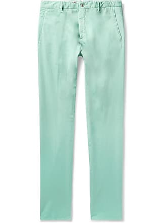 Zanella Noah Garment-dyed Stretch-cotton Chinos - Turquoise