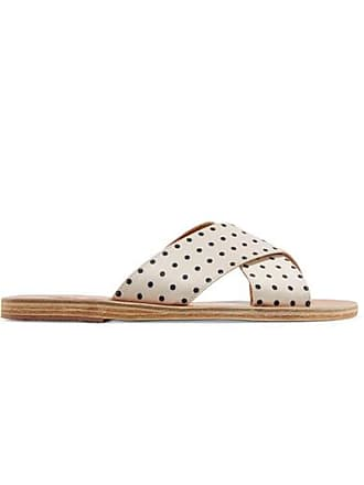 Ancient Greek Sandals Claquettes En Satin Mat À Pois Thais - Blanc ae350ce29474