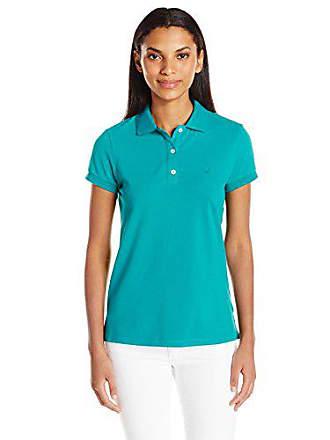 3fa708e37 Nautica Womens Short Sleeve Stretch Solid Polo Shirt, Ocean Teal, Large