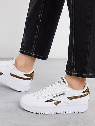Reebok Club C Double - Sneaker mit Leopardenmuster-Detail, exklusiv bei ASOS-Weiß