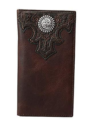 Ariat Overlay Scroll Concho Croc Embossed Rodeo Wallet (Brown) Wallet
