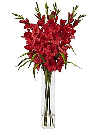 Nearly Natural 1240-RD Large Gladiola with Cylinder Glass Vase Silk Arrangement